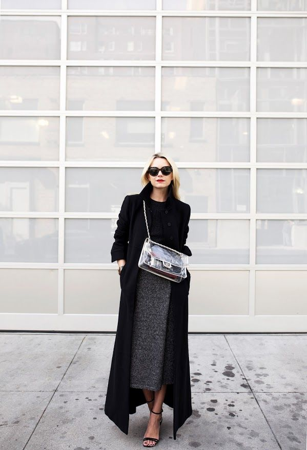Long black coat + grey skirt