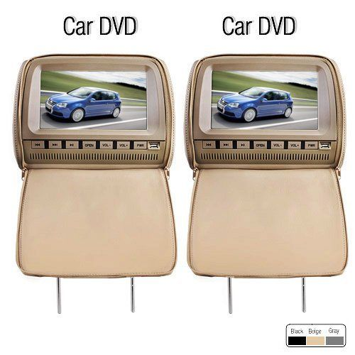 OUKU Deluxe 9 Inch Beige Color Car DVD Player and Protective Screen Cover 16:9 Widescreen Display 800 x 480 Resolution