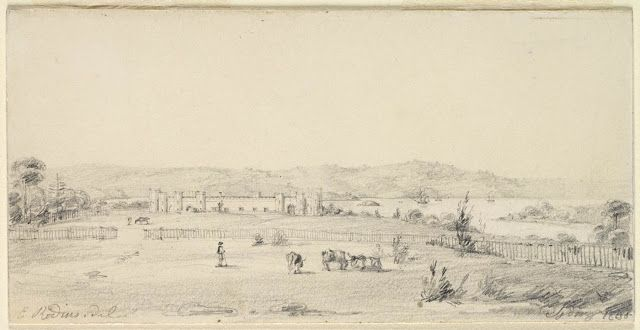 Sydney 1830 - Government House Stables from the Domain - Charles Rodius (1802-1860)