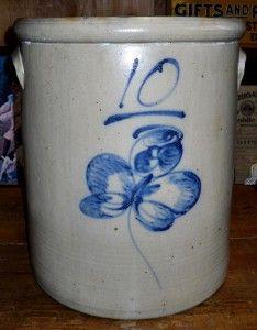 Red Wing Stoneware 10 gallon Salt Glaze Butterfly Crock 637