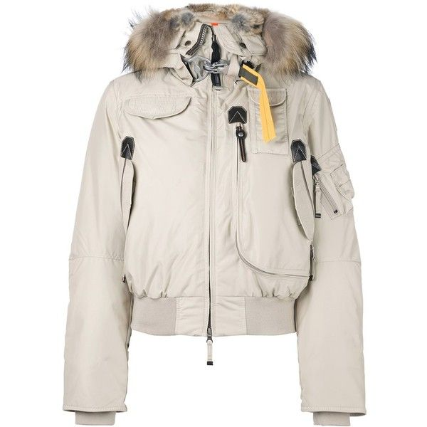 Parajumpers raccoon and rabbit fur trim puffer jacket ($747) ❤ liked on Polyvore featuring outerwear, jackets, nude, puffer jacket, parajumper jacket, pink fur jacket, parajumpers and puffy jacket