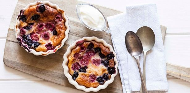 Simple and oh-so-sophisticated berry clafoutis served with creme fraiche. Romance is in the air! recipes, bake, fruit, dessert