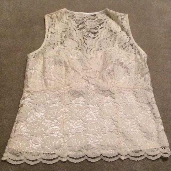Ann Taylor Cream Lace Top Sweet & Feminine Ann Taylor Cream Lace Top. Looks great on its own or under a blazer. Ann Taylor Tops