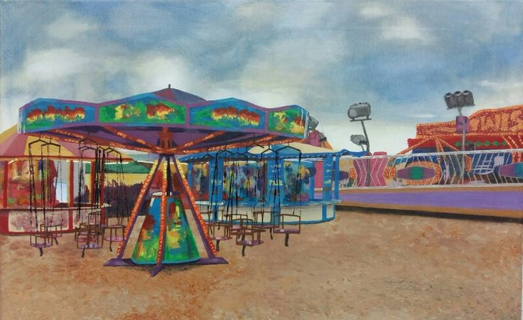 Oil painting. Fairground. Funfair.