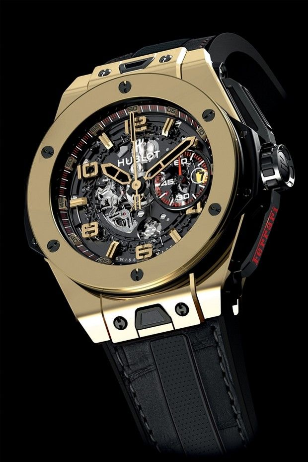 The Hublot Big Bang Ferrari comes in Gold and Titanium.  Womens watch.  Priced at $5,000,000