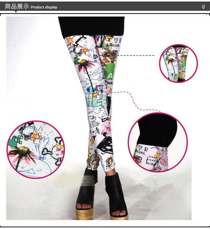 Leggings Show Thin Flower Pants Graffiti Hand-Painted Splash-Ink Girls Hot