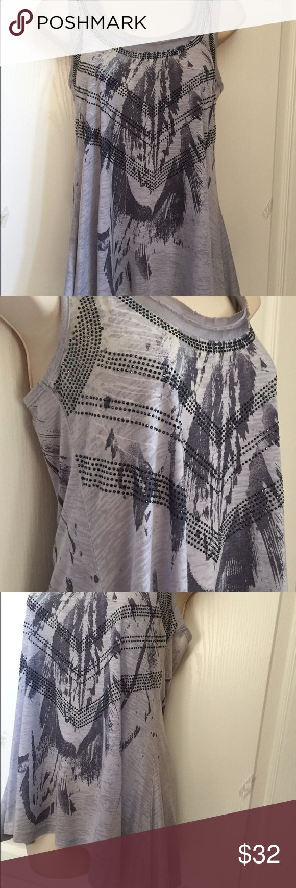 Miss Me Asymmetrical Grey Tank Grey tank with feather pattern overlaid with small grey crystals. Soft and comfortable, 65% polyester, 35% rayon. Worn but still in great condition. Miss Me Tops Tank Tops
