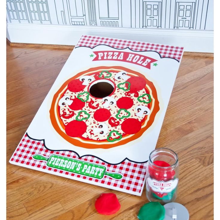 Pizza Hole Bean Bag Toss game!  Print yourself!  Pizzeria Pizza Birthday Party Customized Printable Pizza Hole Game