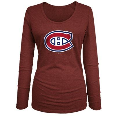Montreal Canadiens 5th & Ocean Women's Primary Logo Tri-Blend Long Sleeve T-Shirt – Red #myNHLWishListSweeps