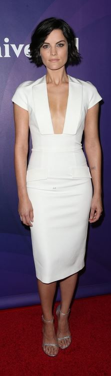 Who made  Jaimie Alexander's white dress?