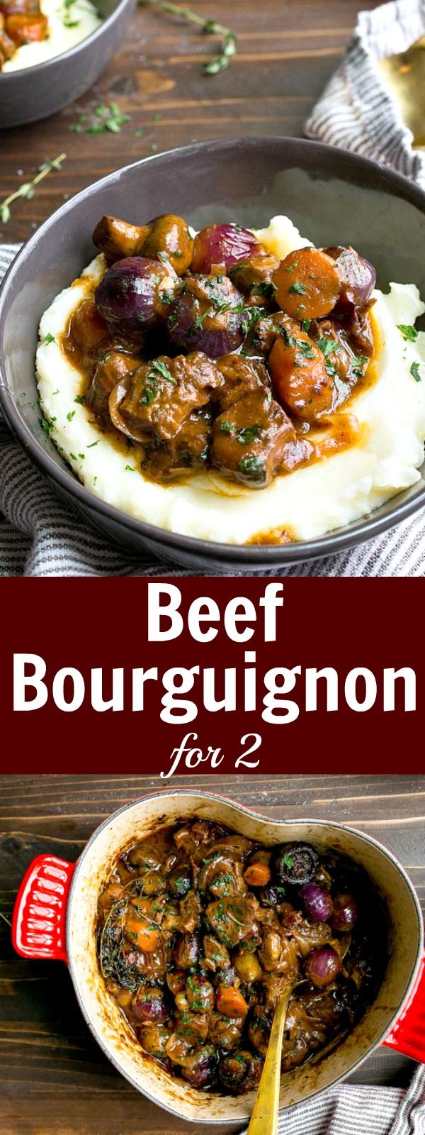 Classic French Beef Bourguignon for Two. Classic Beef Burgundy stew made with beef, red wine, whole mushrooms and baby pearl onions. Romantic dinner for two people for Valentine's Day! via @dessertfortwo