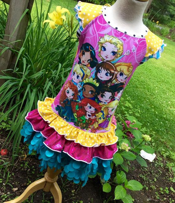 Over the Top Princess Upcycle!  ~Ruffles and Twirl make this the perfect dress ~Custom Princess design featuring all the Princesses! ~Matching
