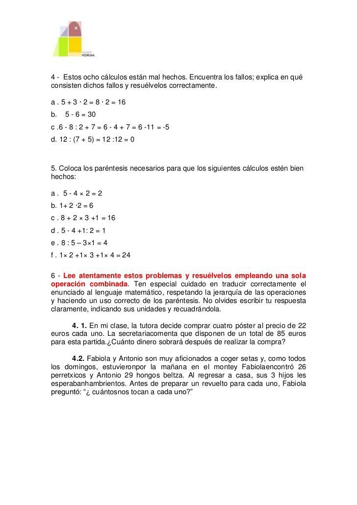 Operaciones Combinadas Operacion Matematicas Educacion