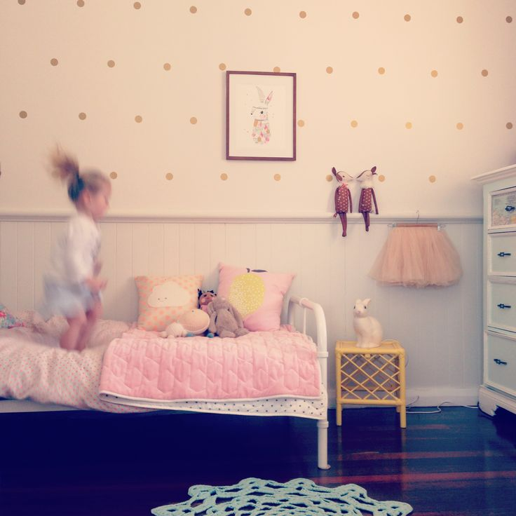 Lotte & Jemima #sharedroom #interiordesign #minted_interiors #happy #girl #polkadots