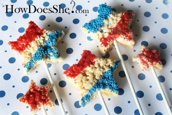 rice krispie stars: Holiday, Treats Stars, 4Th Of July, July 4Th, Stick 4Thofjuly Treats, 4Thof July, Krispy Treats, Dessert