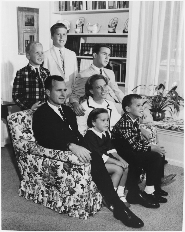 The George and Barbara Bush family in 1964 in Houston