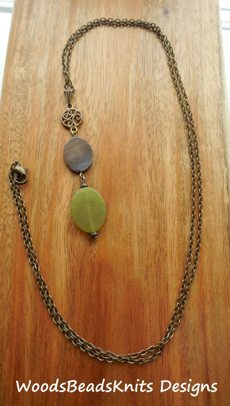 Long Necklace, Long Pendant Necklace, Long Necklace Boho, Natural Jewelry, Bohemian Necklace, Earthy Colors, Serpentine Stone, Shell, Sale