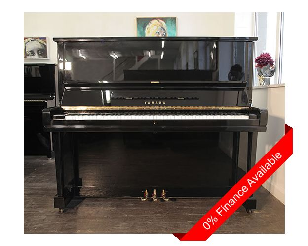 A 1968, Yamaha U3 upright piano with a black case and polyester finish. Piano has three pedals and an eighty-eight note keyboard. £3500 at Besbrode Pianos