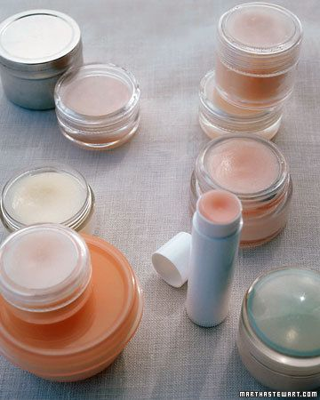 Martha Stewart lip balm- Ingredients: 3 teaspoons grated unbleached beeswax; 5 teaspoons carrier oil (sunflower, castor, or jojoba); 6 or 7 drops essential oil; 1 teaspoon honey, for flavor