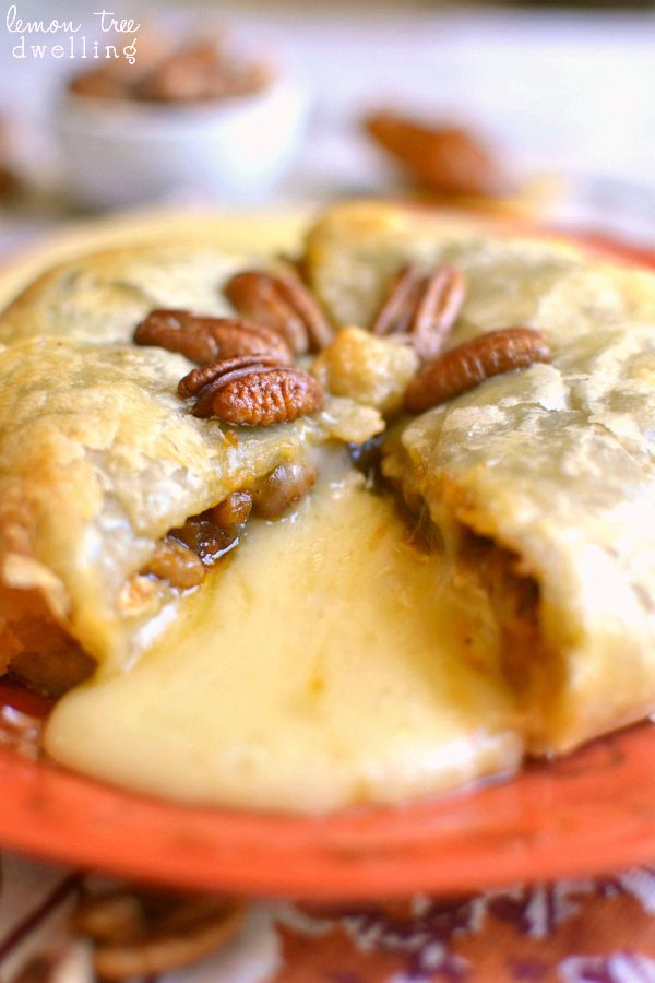 Pumpkin Pecan Baked Brie - just 4 ingredients! Perfect for fall! She used the Pumpkin Butter from Trader Joe's