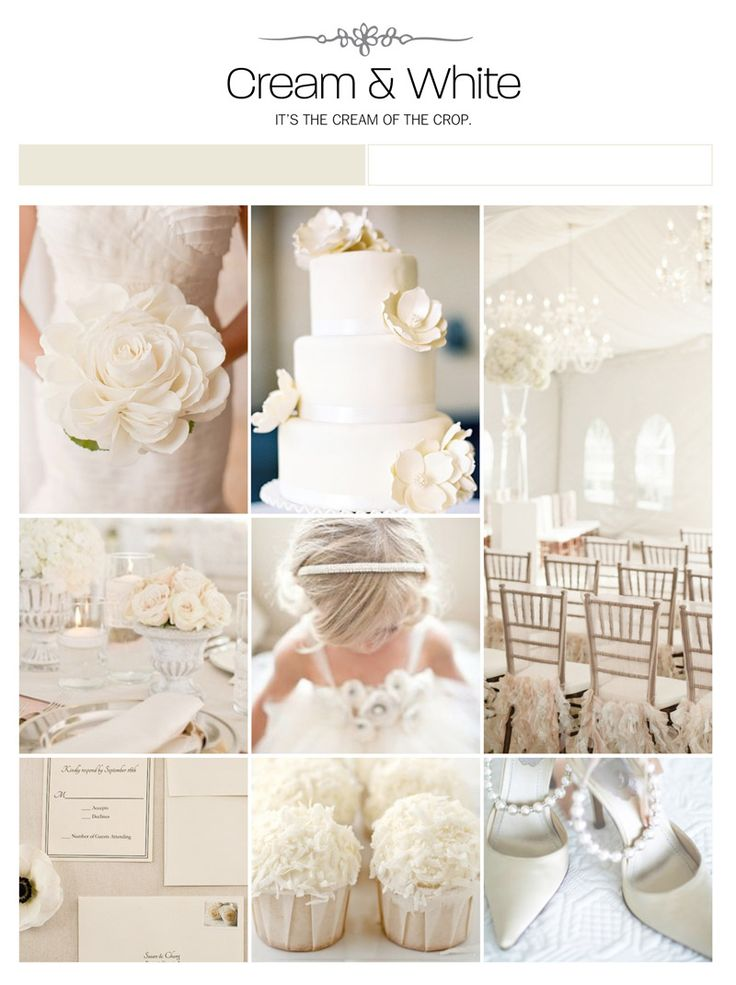 Cream and white wedding inspiration board, color palette, mood board via Weddings Illustrated