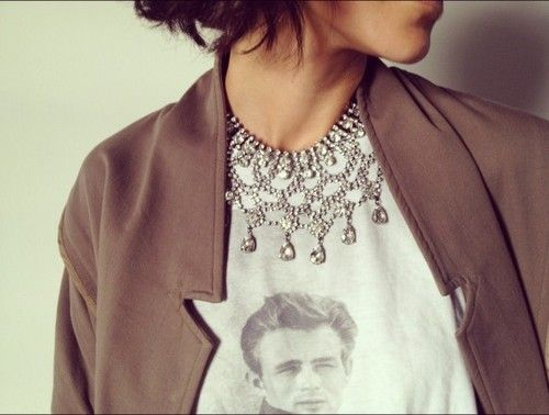 tee + jewels: Dean Tees, Statement Necklaces, Graphics Tees, Zara Statement, Dean O'Gorman, Fashion Inspiration, Collars Xxl, Photo, Inspiration Style