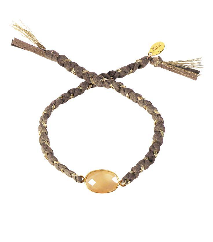 Bracelet tressé PRECIEUSES - Nilaï Paris - Calcédoine Pêche