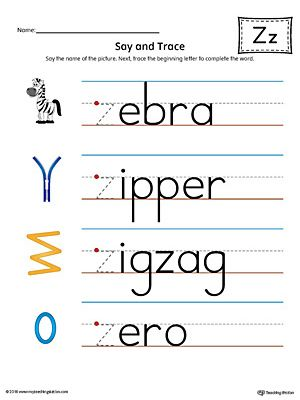 say and trace letter z beginning sound words worksheet. Black Bedroom Furniture Sets. Home Design Ideas