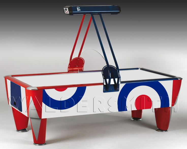 Waldersmith Hurricane Air Hockey Table - Storming onto the scene as one of the world's most popular tables, the Hurricane is a wonder to behold. Since its launch in 2006, it has quickly become the biggest selling air hockey table in the UK. The Hurricane's unique finish comes as standard from the Games Room Company, with a combination of blue and white colours all encompassed by a smart red trim.