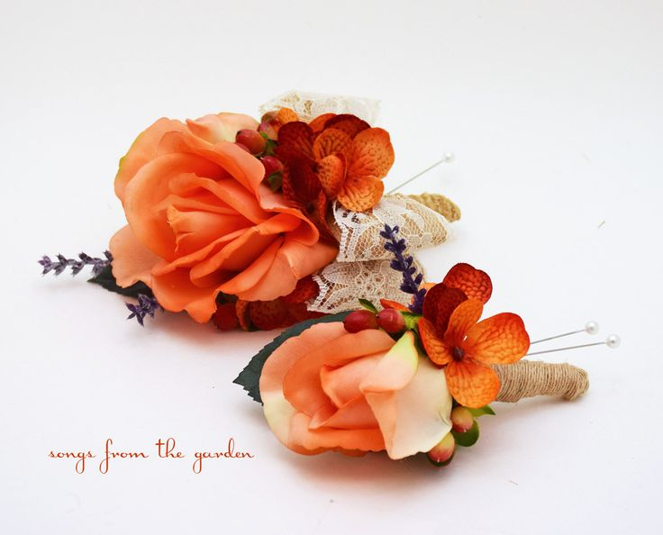 Fall Wedding Real Touch Orange Rose Boutonniere Corsage Wedding Flower Package