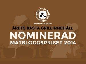 Grillpappan är nominerad till Matbloggspriset 2014 - bästa grillinnehåll