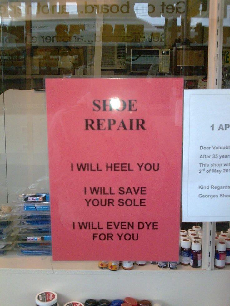 shoe repair sign