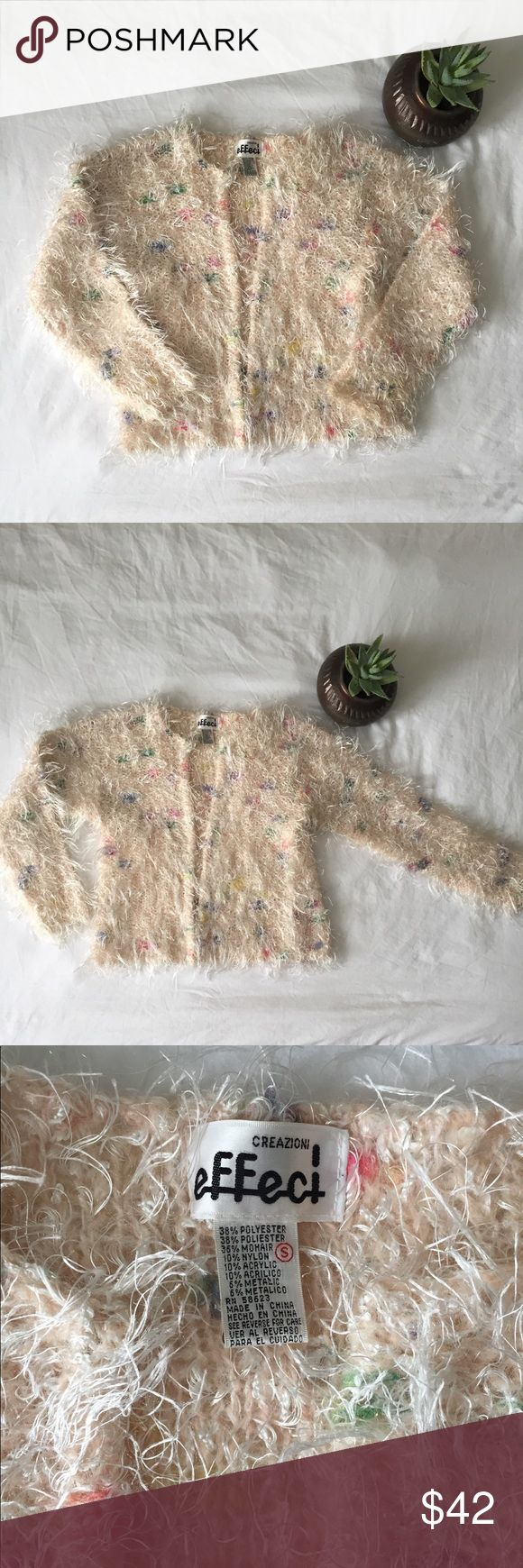 """Amazing Vintage Cardigan Sweater, Size Small Amazing Vintage Cardigan Sweater, Size Small, There is so much awesomeness going on with this sweater! It's like wearing confetti cake! Extremely Soft, Light Pink With white fringe, pops of pastel spots. Open Front Cardigan without Buttons, Brand: Creazioni Effect, 38% Polyester, 36% Mohair, 10% Nylon, 10% Acrylic, 6% Metalic, Hand Wash, Length 23"""" Underarm to Underarm 19"""" Sleeve 24"""" Vintage Sweaters"""
