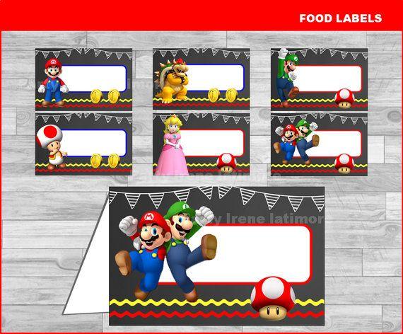 Super Mario Bros food labels Instant download Mario Bros