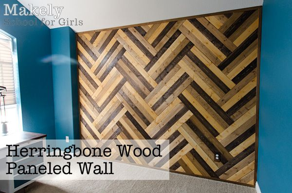DIY Herringbone Wood Paneled Wall | Makely School for Girls