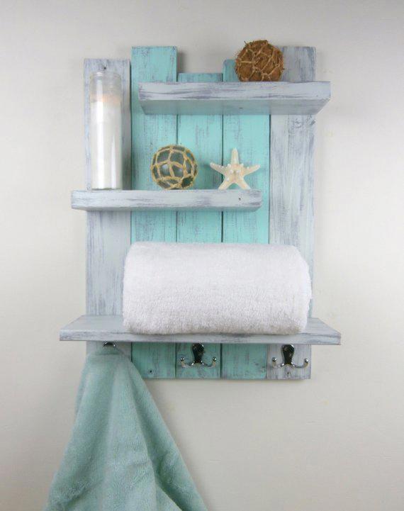 Shabby Teal Distressed Shelves – Reclaimed Wood Bath Shelf With Towel Hooks … – Bathroom Storage