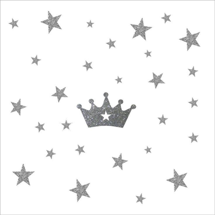 Sticker Etoiles et couronne argent pailleté