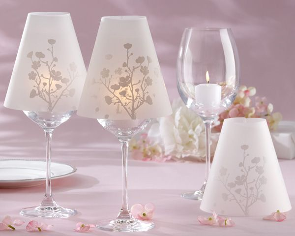 Diy wine glass lamps made with vellum shades wine for Wine glass lamp centerpiece