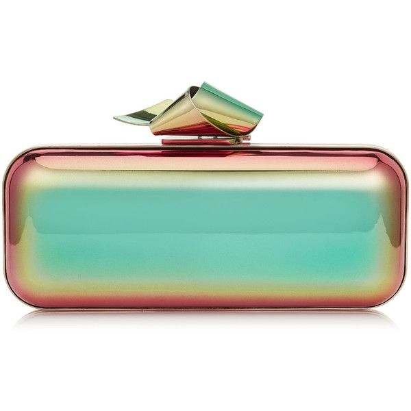 Multi Holographic Metal Clutch Bag with Knot Clasp ($1,525) ❤ liked on Polyvore featuring bags, handbags, clutches, blue clutches, jimmy choo handbags, clasp handbag, clasp purse and jimmy choo