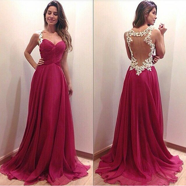 Pd440 Charming Prom Dress,Appliques Prom Dress,A-Line Prom Dress,Backless Prom Dress,Sexy Prom Dress
