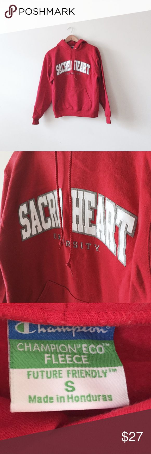 Sacred Heart University hoodie Forgot I had this, now it's too small for me 😑. Standard champion SHU red hooded sweatshirt. Never worn out. Champion Tops Sweatshirts & Hoodies