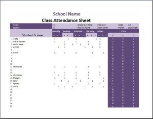 Sign-in Attendance Sheet Templates for Students