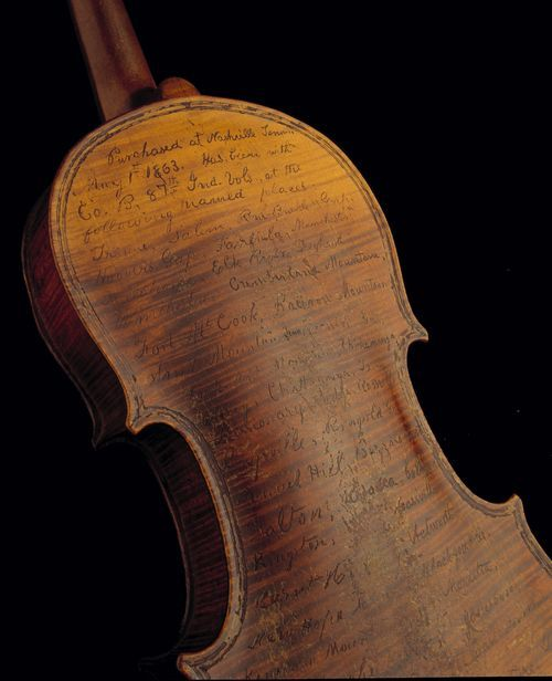 Civil War violin used as war diary by Civil War soldier Solomon Conn 1863.