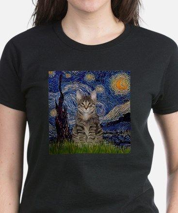 Starry Night & Tiger Cat Women's Dark T-Shirt for CAT LOVERS $5