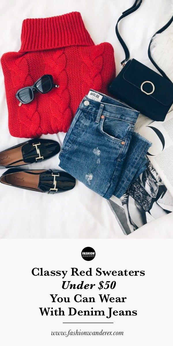 These classy red sweaters under $75 you can wear with denim jeans are SO CUTE! F…