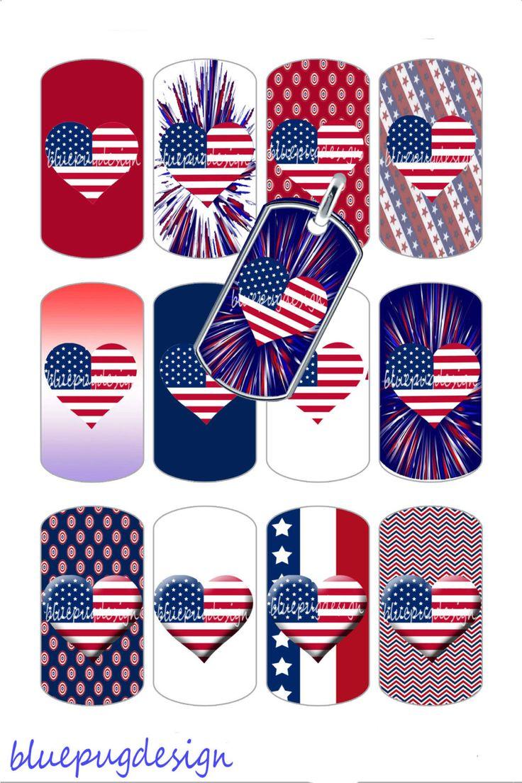 "9 Mini USA Hearts Mix Dog Tag Images 1 1/2"" x 7/8"" (1.5"" x 0.875"") Photo Quality 4x6 Sheet Digtal Download Printable USA America by Bluepugsupplies on Etsy"