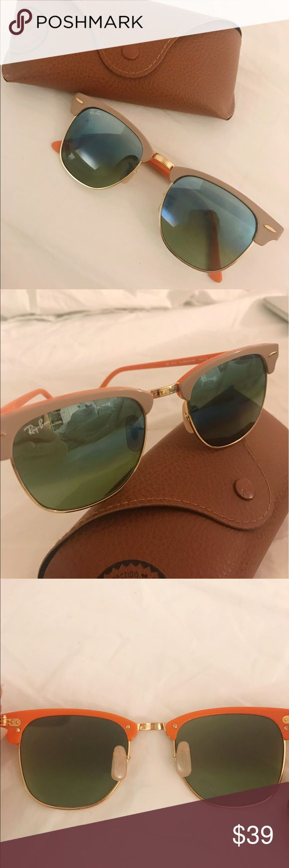 RAY-BAN clubmaster sunglasses in orange/tan Pre-owned. 100% authentic. In mint condition. The color is amazing, than from the outside and orange in the inside with gold hardware. Comes with the original ray ban cover in brown leather shown in picture. P.s.: you may need to adjust the note pads but it can be done easily! Ray-Ban Accessories Sunglasses