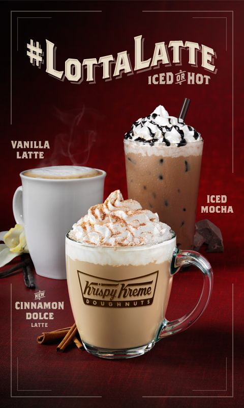 Ooh, now Krispy Kreme has a 'Cinnamon Dolce Latte! I wonder how it will compare to Starbucks?   Three new coffee drinks at Krispy Kreme: Cinnamon Dolce Latte, Vanilla Latte and Iced Mocha. #latte #coffee #krispykreme