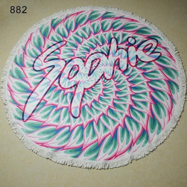 Round Beach Towel Mandala Printed Microfiber Bath Towels Bohemia Tassel Carpet Mandala Tapestry Yoga Mat 150cm Towels Wholesale