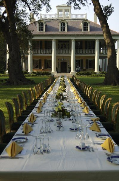 southern family dinner on the lawn